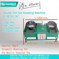 Double-Pan Two Pot Pearl Granulate Tea Roasting Shaping Machine DL-6CSG-50
